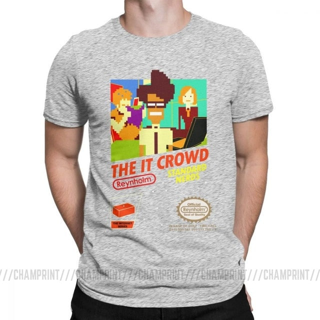 The It Crowd Nes 8 Bit Game T-Shirts - Gray
