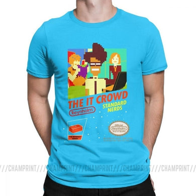 The It Crowd Nes 8 Bit Game T-Shirts - Light Blue