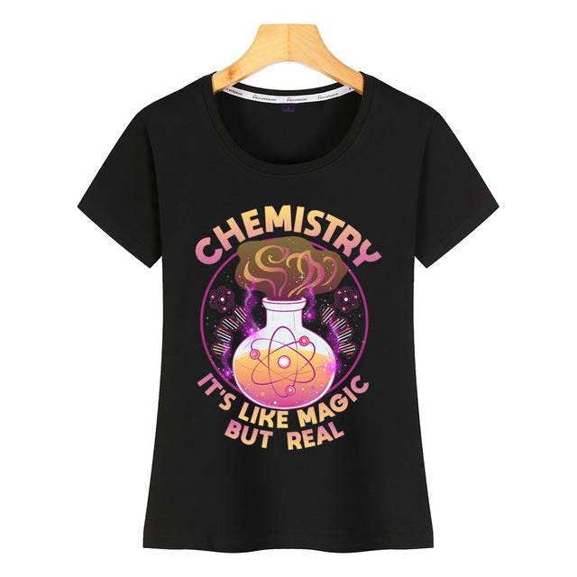 Chemistry its like magic but real White Cotton Women's Tshirt