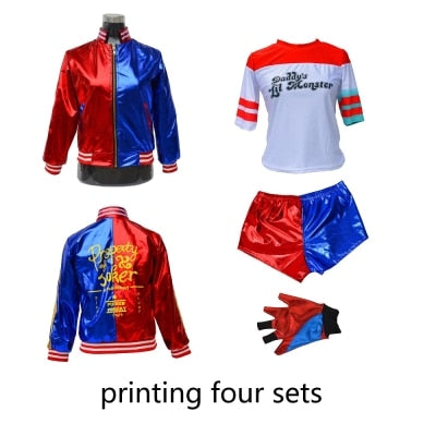 Suicide Squad Harley Quinn 4pc Set (Printed) Cosplay