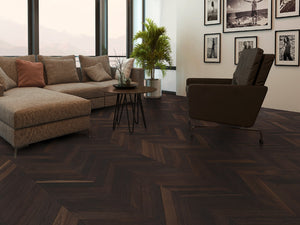 Chevron Smoked Oak Rustic Herringbone - Evergreen Wood INC