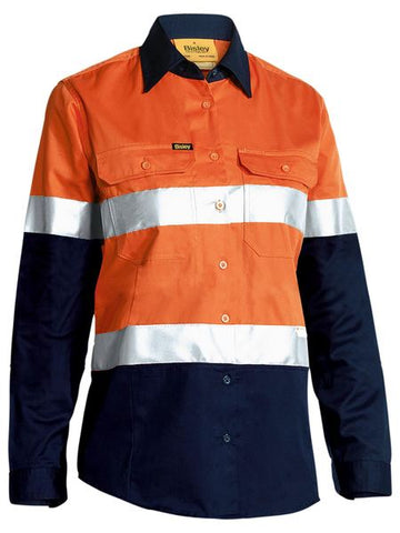 BISLEY BL6896 Womens 3M Taped Hi Vis Cool Light Weight L/S Shirt - Orange - Workin' Gear