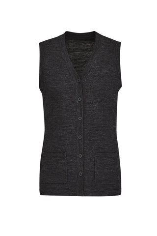 BIZCARE CK961LV Button Front Knit Vest - Charcoal - Workin' Gear