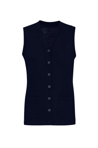BIZCARE CK961LV BUTTON FRONT KNIT VEST - NAVY - Workin' Gear