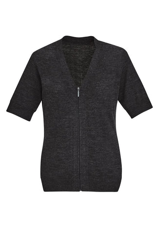 BIZCARE CK962LC Ladies Zip Front S/S Knit 2 Colours - Workin' Gear