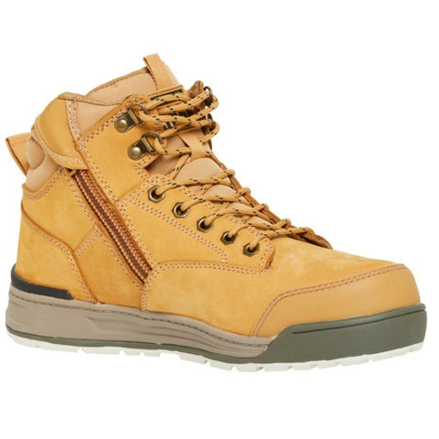 Workin Gear - HARD YAKKA 3056 Lace Zip Safety Boot - Wheat