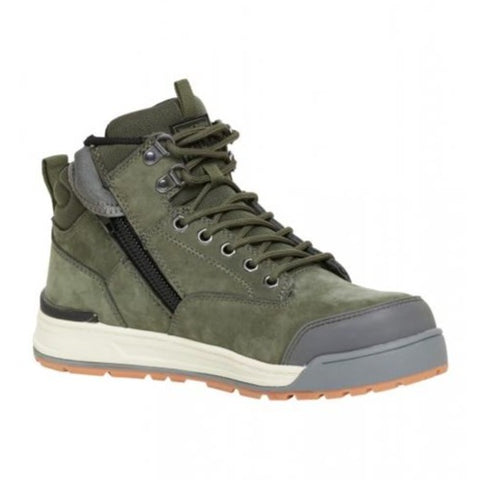Workin Gear - HARD YAKKA 3056 Lace Zip Safety Boot - Olive