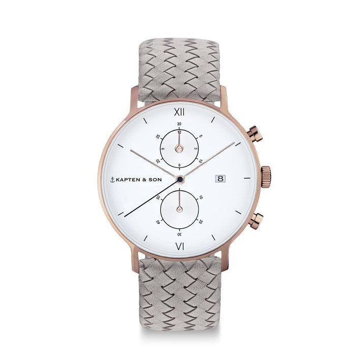 Chrono Grey Woven Leather - Kapten & Son - Japan