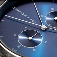 "Chrono Silver ""Blue Grey Woven Leather"" - Kapten & Son - Japan"