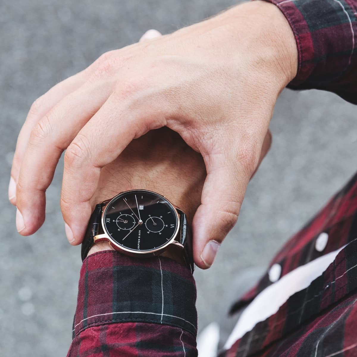 "Chrono ""All Black Croco"" - Kapten & Son - Japan"