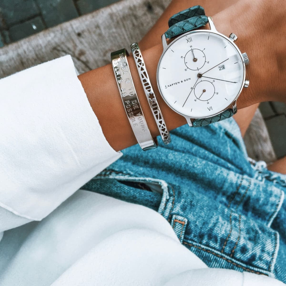 "Chrono Silver ""Light Blue Woven Leather"" - Kapten & Son - Japan"
