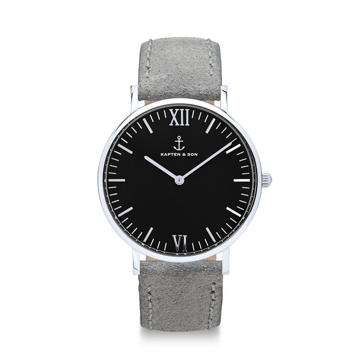 "Campus Silver ""Black Grey Vintage Leather"" - Kapten & Son - Japan"