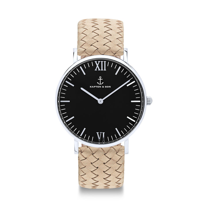 "Campus Silver ""Black Sand Woven Leather"" - Kapten & Son - Japan"