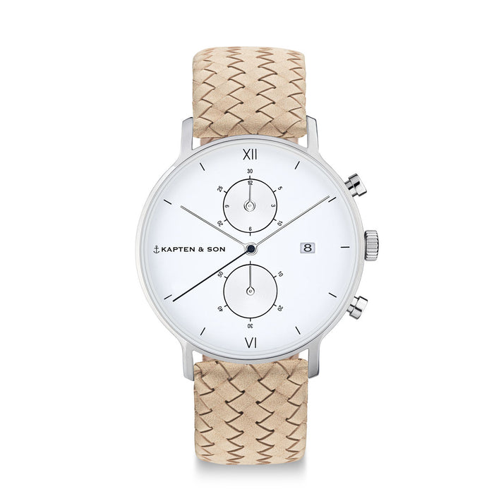 "Chrono Silver ""Sand Woven Leather"" - Kapten & Son - Japan"