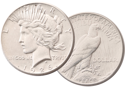 1926 Peace GOD Dollar - 2 coins