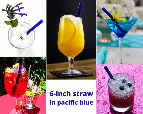 ToMa 6-inch blue glass straws in drinks of various sizes