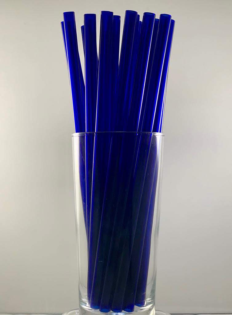"ToMA 25-pack of 9"" glass straws in pacific blue"