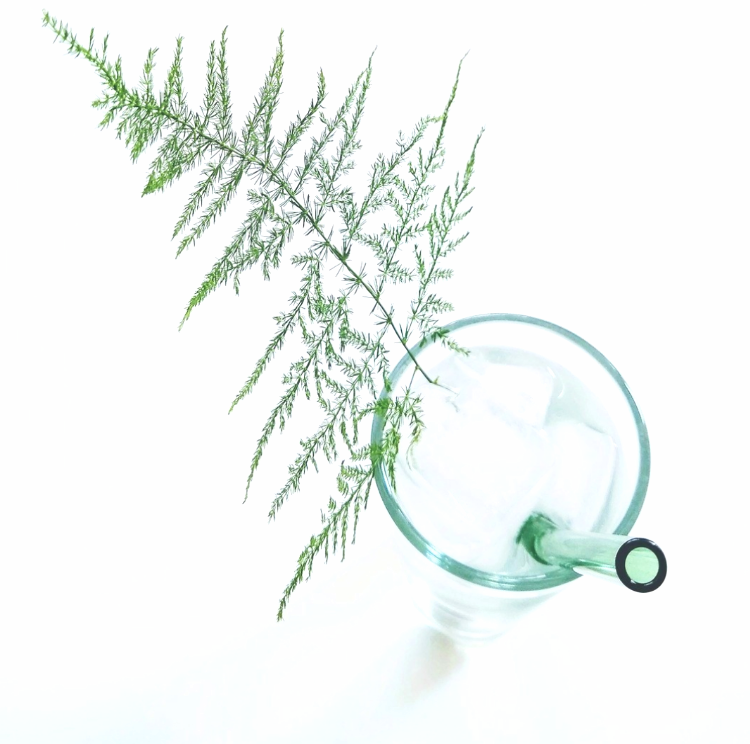Photo of ToMA glass straw in 9-inch in forest green in tall clear glass with asparagus fern garnish on whit background.