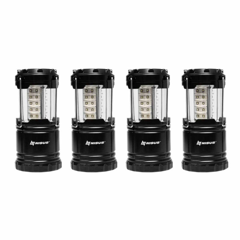 Set of 4 Bright LED Waterproof Collapsible Camping Lanterns