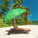 "Lightweight Green Beach Umbrella with Tilt, Camping, Outdoor, Sea, Lake Umbrella, 6'6"" Diameter, Large Parasol, Steel Pole"