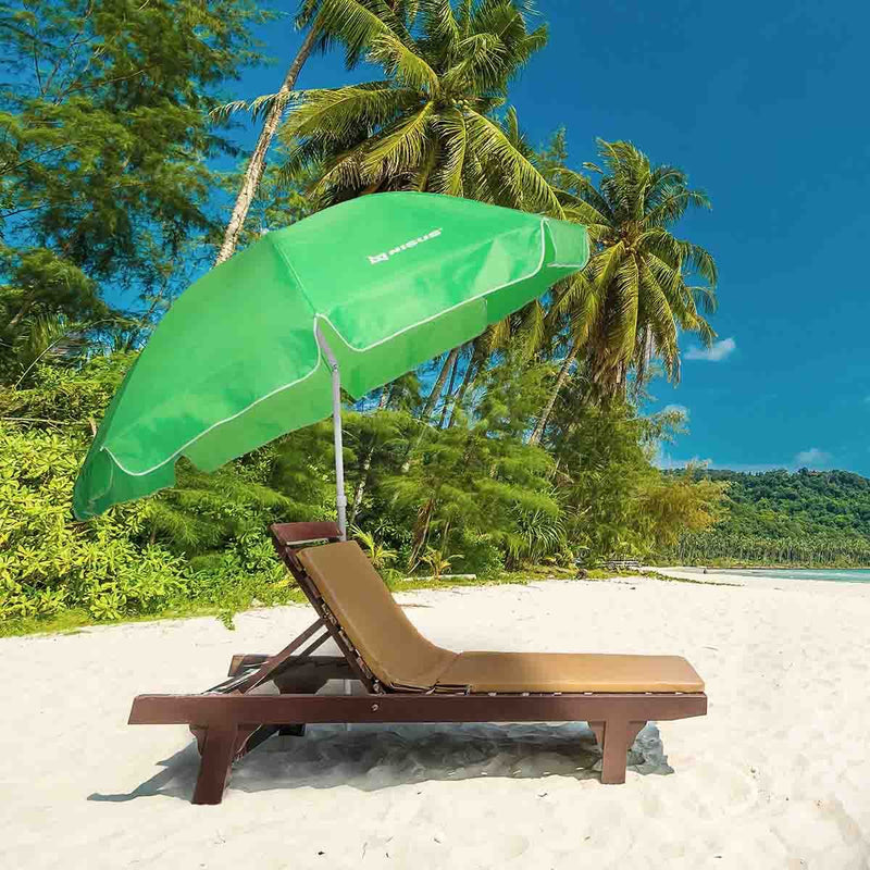 "Lightweight Green Beach Umbrella with Tilt, 6'6"" Diameter, Outddor, Lake, Large Parasol, Steel Pole"