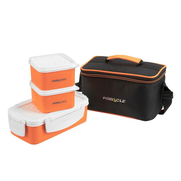Pyramid Set of 3 Plastic Lunch Containers, Food Storage Box with Bag, Orange