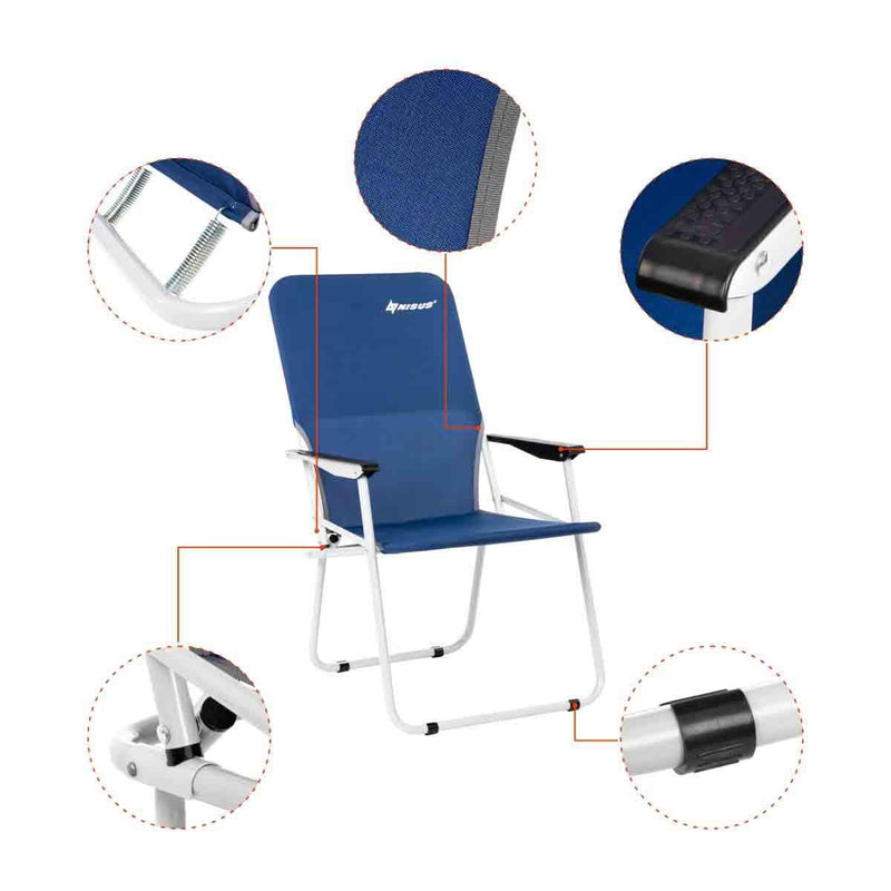 Folding Blue Steel Armchair for Camping, Outdoor, Picnic