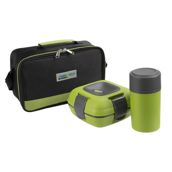 Paloma Set of Plastic Lunch Box with Bottle and Bag, Food Storage, Green
