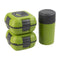 Paloma Set of 2 Plastic Lunch Boxes, Food Storage Containers with Bottle and Bag, Green