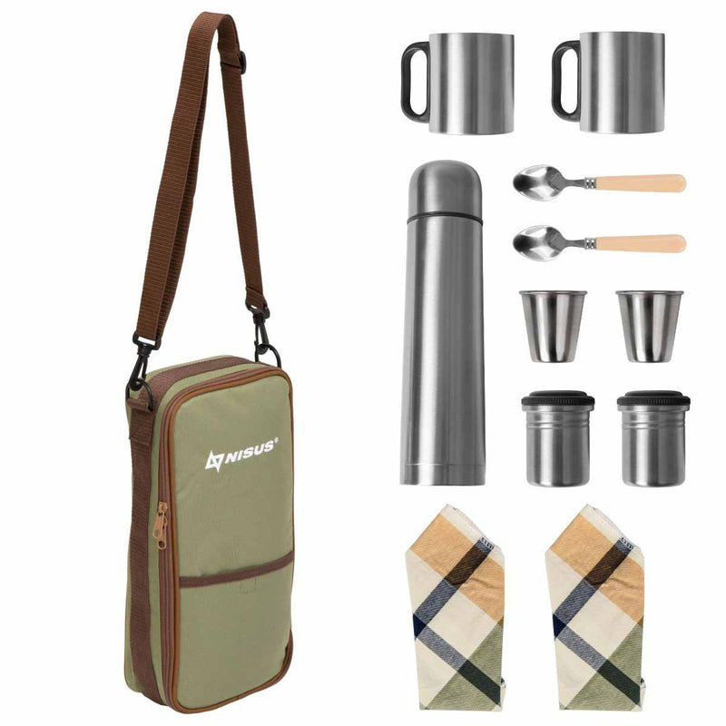 Stainless Steel Picnic Set for Tea, Coffee with Bag for Two