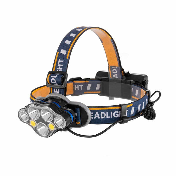 LED Rechargeable Water-resistant Headlamp, Red and White Light