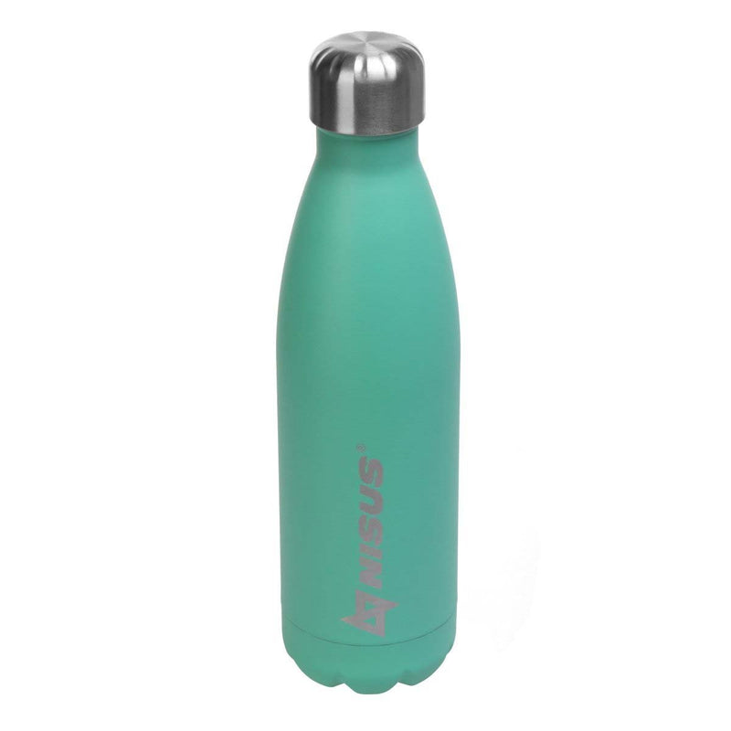 Stainless Steel 17 oz Portable Vacuum Bottle, Turquoise, Blue, Black.