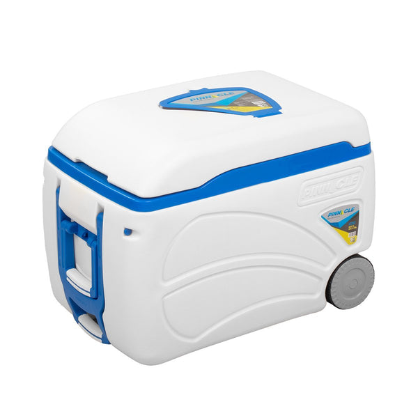 Voyager Portable White Ice Chest on Wheels, 47 qt