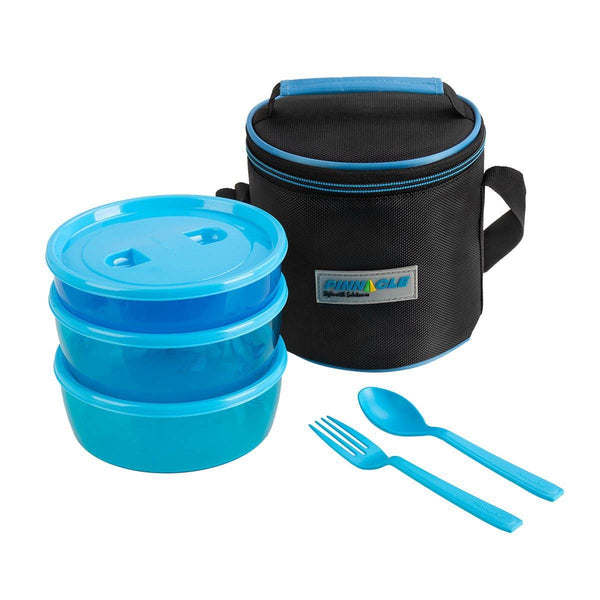 Pride Set of 3 Plastic Lunch Containers with Carrying Bag, Blue