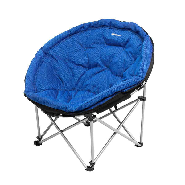 Big Folding Blue Padded Moon Saucer Chair with Carrying Bag