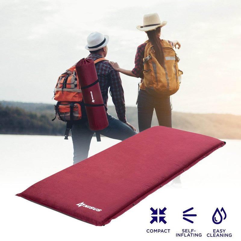 Self-Inflating Foam Camping Pad, Outdoor Sleeping Mat, Backpacking, Hiking, Red