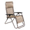 Zero Gravity Lounge Folding Adjustable Beige Chair with Padded Pillow for Patio, Pool