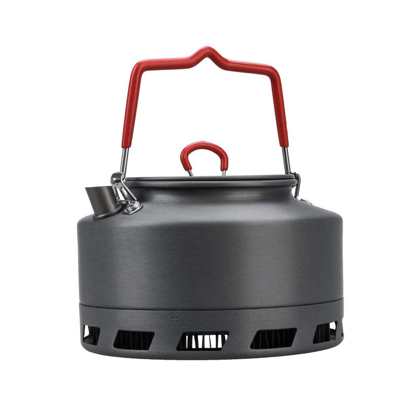 Compact Outdoor Anodized Aluminum Kettle for Camping with Windscreen Bottom