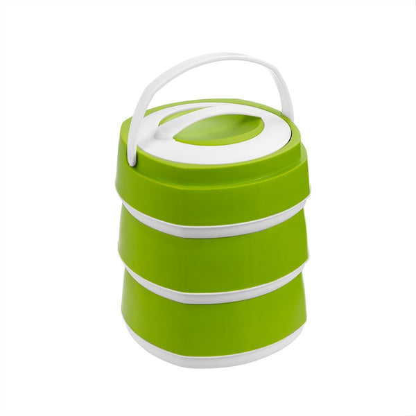 Phoenix Set of 3 Stackable Plastic Lunch Boxes, 61 oz Food Storage Containers with Stainless Steel Insulation, Green