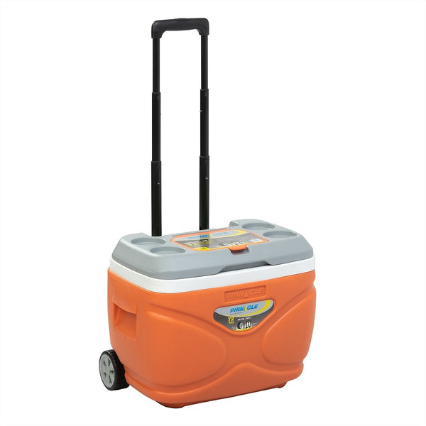Prudence Portable Hard Ice Chest on Wheels for Camping, 31 qt, Orange