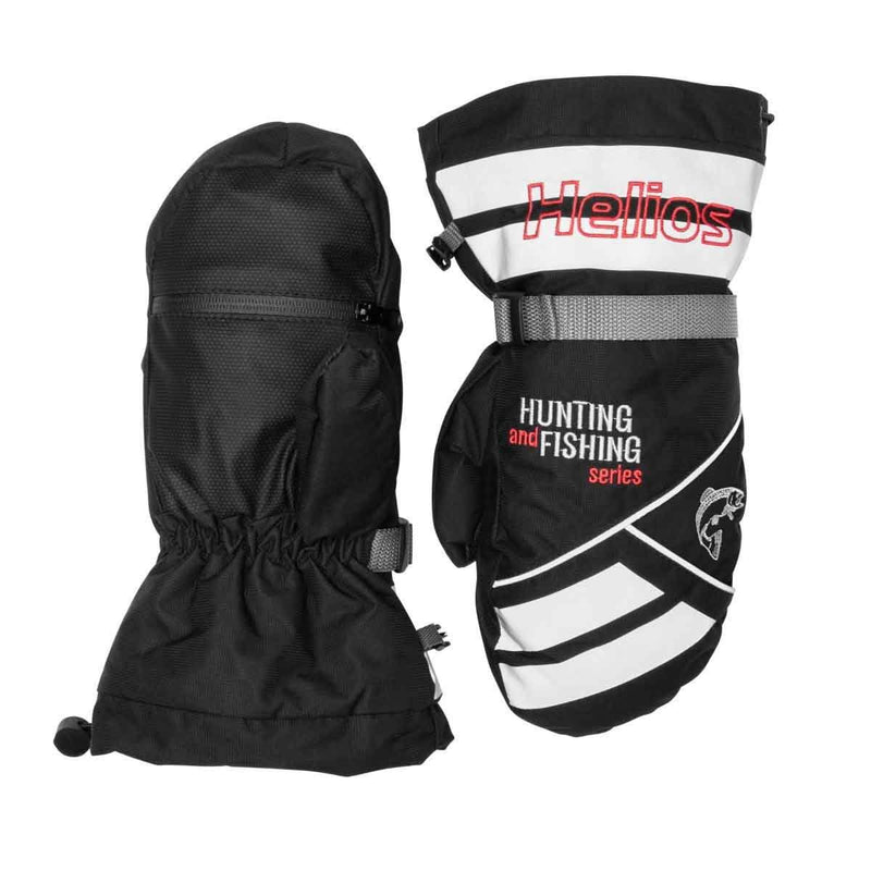 Professional Mittens for Ice Fishing, Waterproof and Breathable, Black/White, Black/White/Red, XL