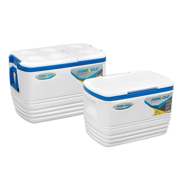 Voyager Set of Big White Ice Chests for Camping (2 pcs in set)