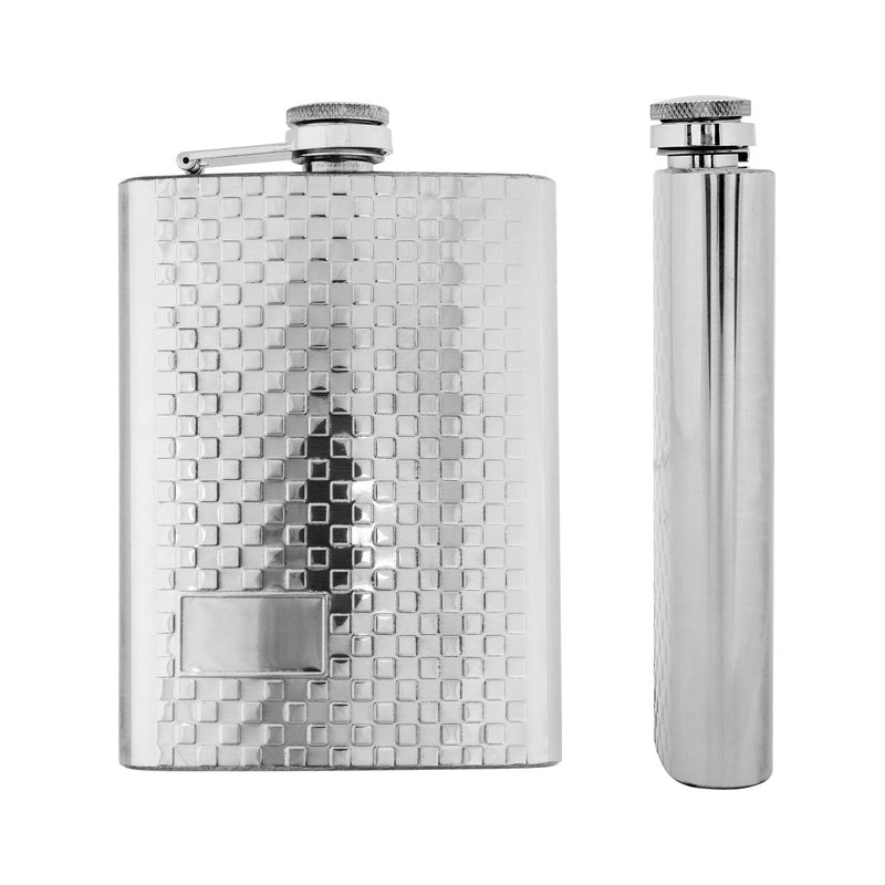 8 oz Silver Stainless Steel Hip Flask for Alcohol Beverages