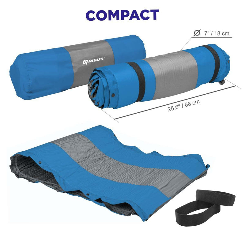 Self-Inflating Camping Foam Pad with Pillow for Hiking, Camping, Outdoor Sleeping Pad, Blue