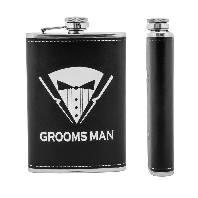 9 oz Groomsman Stainless Steel Gift Liquor Hip Flask