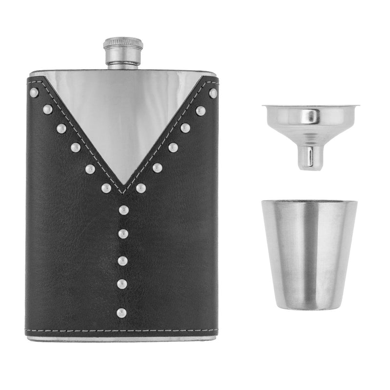 Stainless Steel Gift Set, 9 oz Hip Flask, Shot Glass and Funnel