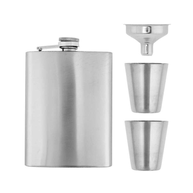 Stainless Steel Gift Set, 8 oz Hip Flask, Two Shot Glasses and Funnel