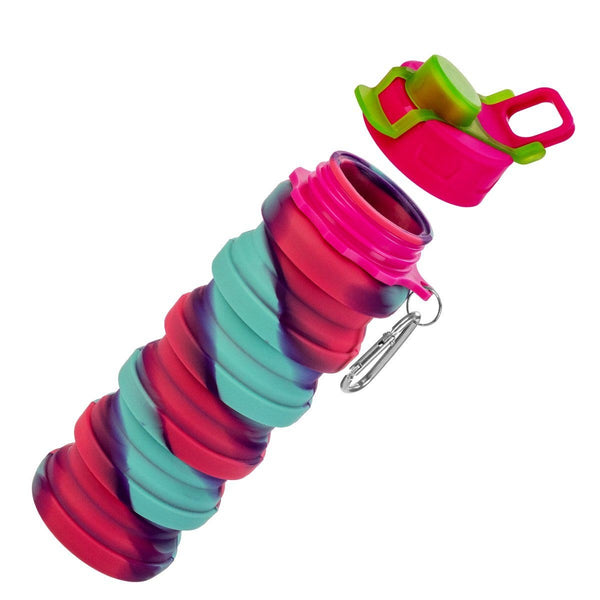 Portable Collapsible Silicone Water Bottle, Pink and Blue, Blue and Orange