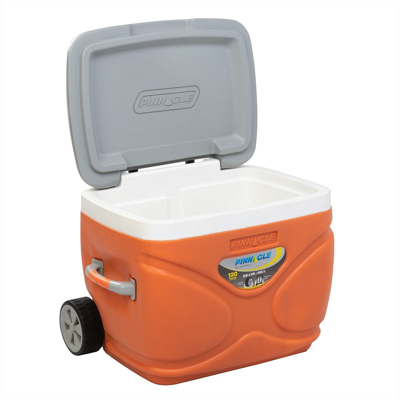 Prudence Large Hard Camping Cooler with Wheels, 69 qt, Orange