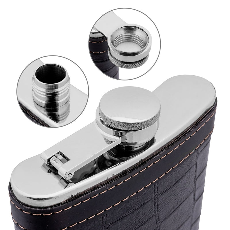 9 oz Black Stainless Steel Hip Flask for Alcohol